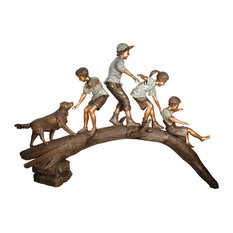 Kids & a Dog Playing on a Tree Branch Sculpture