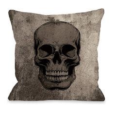 """Skull Grunge"" Indoor Throw Pillow by OneBellaCasa, 16""x16"""