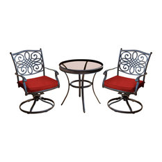 """Traditions 3-Piece Swivel Bistro Set, Red With a 30"""" Glass-top Table"""