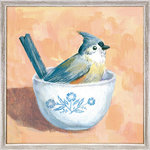 """GreenBox Art + Culture - """"Titmouse In A Bowl"""" Mini Framed Canvas by Cody Blomberg - Titmouse bird in a small white bowl."""