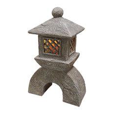 Design Toscano   Japanese Pagoda Solar Lantern Statue   Garden Statues And  Yard Art