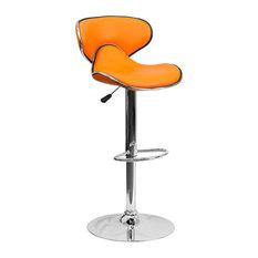Contemporary Cozy Mid-Back Orange Vinyl Adjustable Barstool With Chrome Base