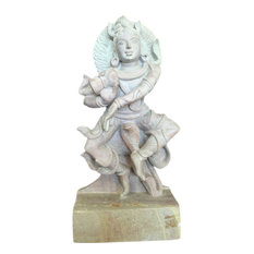 Mogul Interior - Hand-Carved Lord Shiva Dancing Stone Statue - Decorative Objects And Figurines
