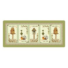 Country Birdhouses Polyamide Kitchen Rug, Medium