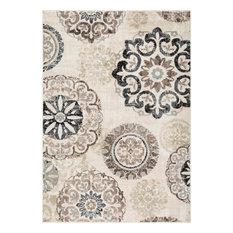 L'Baiet Katie Contemporary Beige Floral Mid-Century 8' x 10' Fabric Area Rug
