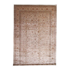 "Kashmir Pure Silk Rug Oriental Carpet 25'7""x14'7"", India Hand-Knotted Classic"