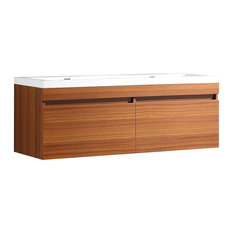 Largo Double Sink Bathroom Cabinet, Base: Teak, With Integrated Sink