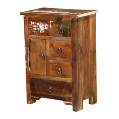 Ebers Solid Wood 5 Drawer Apothecary Storage Nightstand