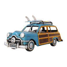 1949 Green Ford Wagon Car Withtwo Surfboards