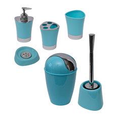SHINY Bathroom Accessory Set-6 or 7 Pieces, Aqua Blue