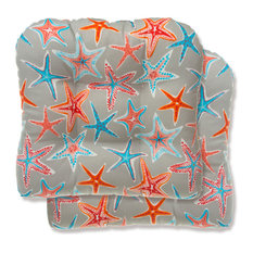 Reversible Wicker Chair Cushion 2 Pack, Reach For The Stars Orange