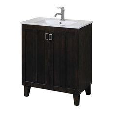 bathroom vanity single sink. inFurniture Inc  30 Solid Wood Sink Vanity With Ceramic Basin Dark Single Bathroom Vanities Houzz
