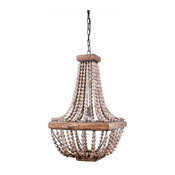 Boone Square Single Bulb Metal Chandelier With Wood Beads