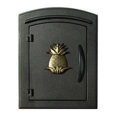 Manchester Non-Locking Column Mount Mailbox with Pineapple Logo - Black