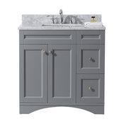 "Elise 36"" Single Bath Vanity, Gray with Marble Top and Square Sink"