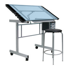 studio designs vision craft station and stool silver and blue glass drafting tables - Drafting Tables