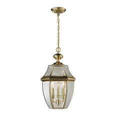 Cornerstone Ashford 3 Light Exterior Hanging Lantern, Antique Brass