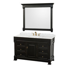 "Wyndham Collection 55"" andover Single Sink Bathroom Vanity Set, Antique Black"