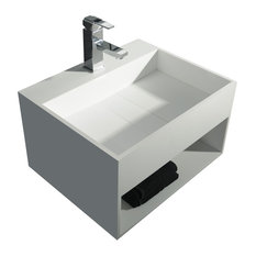 Solidcubo 24 in. Wall Vanity Washbasin With Storage Solid Surface No Faucet Hole