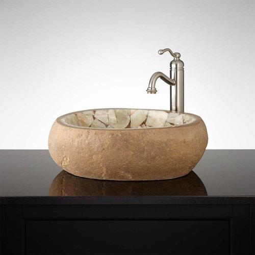 SMITHLEE HONEY ONYX MOSAIC RIVER STONE VESSEL SINK   Bathroom Sinks