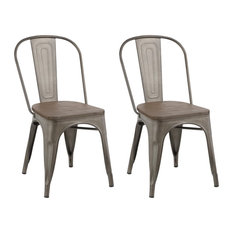 Btexpert - Industrial Metal Antique-Style Bronze Rustic Distress Dining Chairs, Set of 2 - Dining Chairs