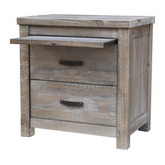 Denver Gray 2-Drawer Nightstand With Pull-out Tray