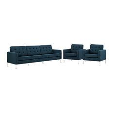 Azure Loft 3 Piece Upholstered Fabric Sofa And Armchair Set