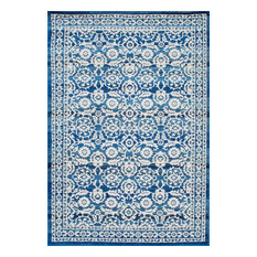 """Traditional Floral Area Rug, Dark Blue, 6'7""""x9'"""