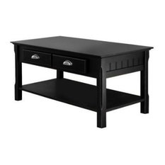 Country Style Black Wood Coffee Table With 2 Storage Drawers