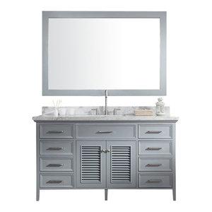 "ARIEL Kensington 61"" Single Sink Bathroom Vanity Set Gray with White Countertop"
