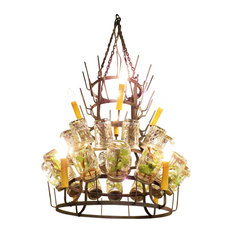 Large Iron Wine Bottle Chandelier, Metal Bar French Country