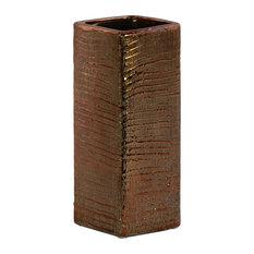 Ceramic Tall Square Vase With Ribbed Design Body, Copper