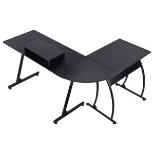 Modern Stylish Desk  With Monitor Stand, L Shaped Design, Black