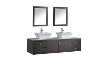 Nepal Double Sink Wall-Mounted Bathroom Vanity Set