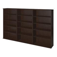 Bush Business Furniture Series C Elite 66H 3 Piece Bookcase Set In Mocha Cherry