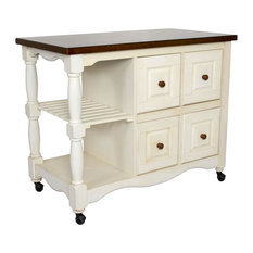 4-Drawer Kitchen Cart in White and Chestnut Finish