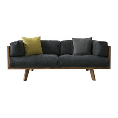 NUTSANDWOODS   Blue Linen And Solid Oak Sofa Chair With Down Filling   Sofas
