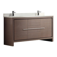 "Allier 60"" Modern Double Sink Bathroom Cabinet, With Top and Sinks, Gray Oak"