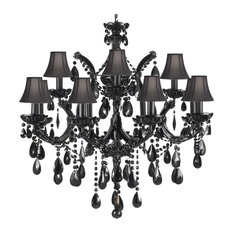 Jet Black Crystal Chandelier With Black Shades