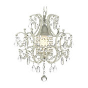 1-Light Wrought Iron and Crystal Chandelier, White