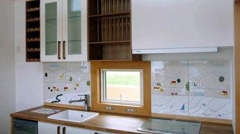 別荘のキッチンパネル