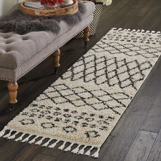 """Nourison - Nourison Moroccan Marrakesh Shag Area Rug, Cream, 2'2""""x8'1"""" - Hall and Stair Runners"""