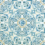 "FloorPops - Fontaine Peel and Stick Floor Tiles, 24""x60"" - Add a splash of color and intrigue to your floors with these peel and stick tiles. The blue, tan, and white Moroccan-inspired design looks hand painted. Fontaine Peel & Stick Floor Tiles contains 10 pieces on 10 sheets that measure 12 x 12 inches. Peel and stick to apply"