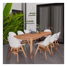 Amazonia Charlotte 9-Piece Patio Sidechair Dining Set, White