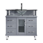 "Vincente 36"" Single Bath Vanity, Gray, Clear Tempered Glass Top and Round Sink"