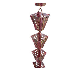 Arts and Crafts Square Cups Rain Chain with Installation Kit, 8'