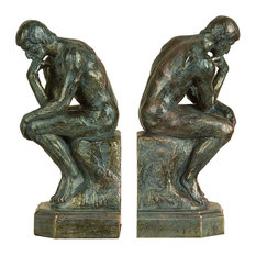 """Woodland Imports - Set of 2 Bookends """"The Thinker"""" Silver Bronze Library Decor - Bookends"""