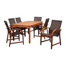Amazonia Bahamas 7-Piece Rectangular Dining Set | Eucalyptus Wood