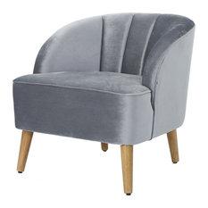 GDF Studio Scarlett Modern New Velvet Club Chair, Pewter