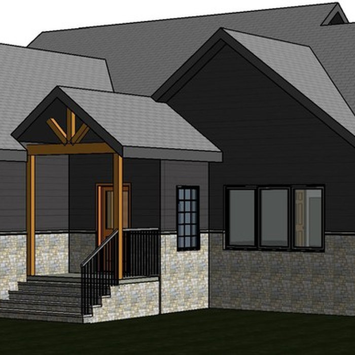 Preliminary 3D model of one of our current projects.  Once plans are finished and permits are pulled, this home will be built in Troy, NC.